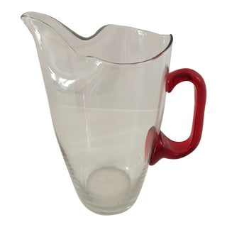 Vintage Handblown Crystal Red Pitcher For Sale
