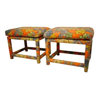 Mid-Century Milo Baughman Style Ming Dragon Parsons Footstools- a Pair For Sale
