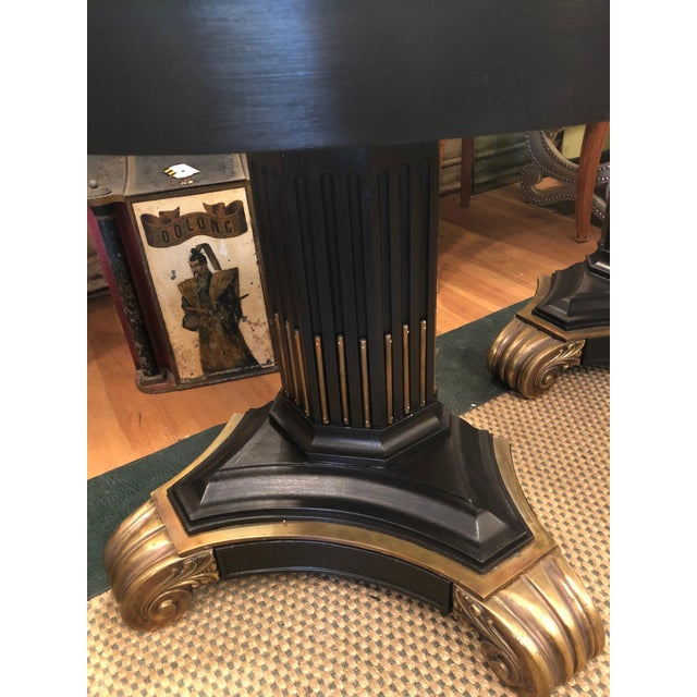 Stunning free standing demilune console tables. Tops are a faux malachite in a rich emerald green (see last pic for...