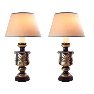 Pair of Charles Pollock Black & Gold Acanthus Leaf Italian Table Lamps - William Switzer For Sale