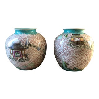 Antique Chinese Jiaqing Mark and Period Rose Vases - a Pair For Sale