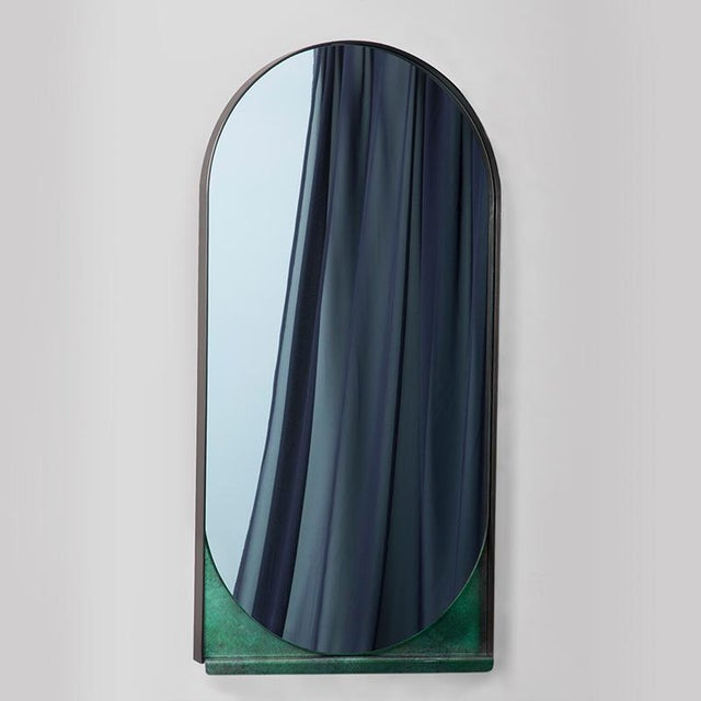 Contemporary Contemporary Blackened Steel and Patinated Bronze Slip Mirror For Sale - Image 3 of 5
