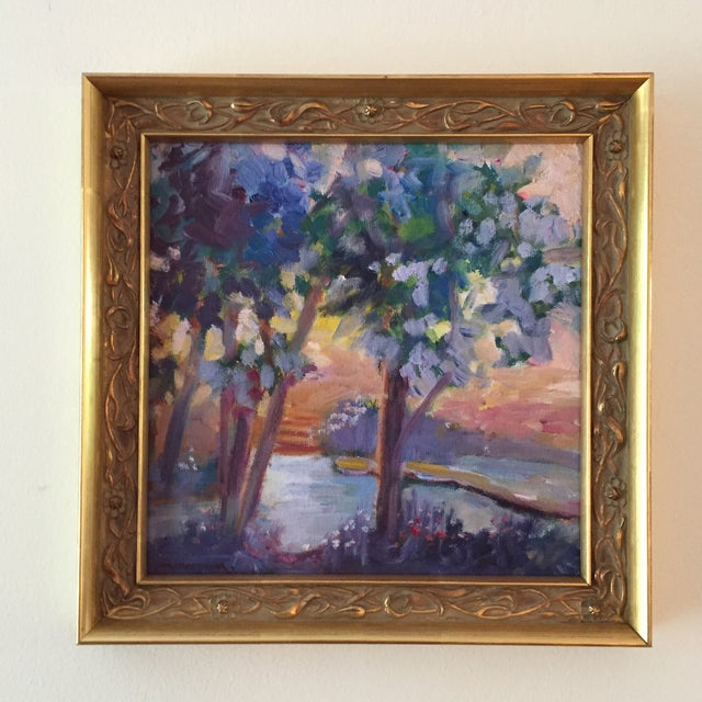 """Expressionism """"Pond in Golden Light"""" Contemporary Expressionist Style Plein Air Landscape Oil Painting by Marina Movshina, Framed For Sale - Image 3 of 9"""