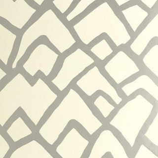 Schumacher Zimba Geometric Stripe Wallpaper in Silver - 2-Roll Set (10 Yards) For Sale