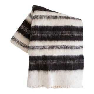 Black Striped Guatemalan Wool Blanket For Sale
