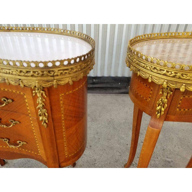 Louis XV Louis XV Style End Marble Top Tables or Nightstands - a Pair For Sale - Image 3 of 7