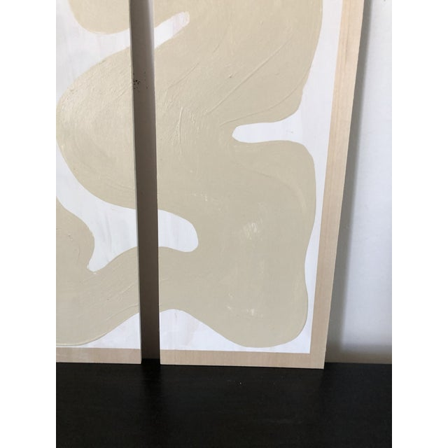 Abstract Abstract Beige and White Quadriptych Painting - 4 Pieces For Sale - Image 3 of 7
