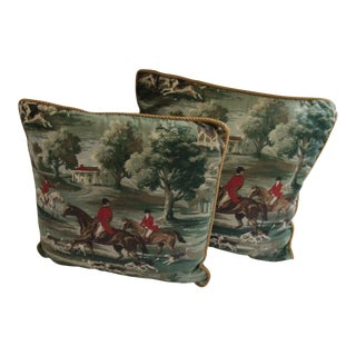 Vintage Horse & Hound Hunting Pillows- 2 Pieces