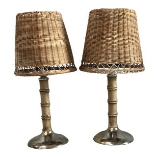 1970s Vintage Wicker Shade Bamboo Lamps - A Pair