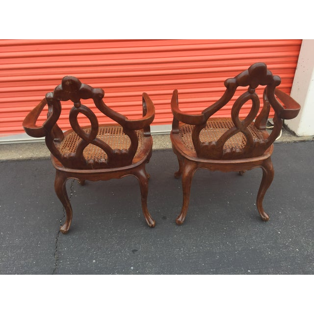 Antique Italian Renaissance Revival Arm Chairs a Pair For Sale - Image 10 of 13