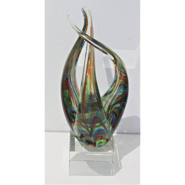 "Abstract Vintage Lucite Base ""Flame"" Sculpture Multicolored Glass Murano Style For Sale - Image 3 of 12"