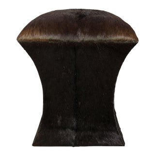 Brown Pony Hair on Hide Stool For Sale