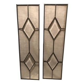 Vintage Beveled Geometric Leaded Clear Glass Window – a Pair