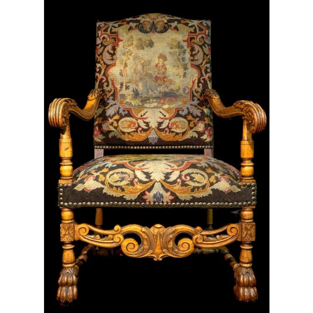 Baroque Mid 19th Century Antique Carved Needlepoint Armchair For Sale - Image 3 of 5