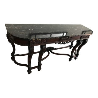 Antique 1920s American Marble Topped Console For Sale
