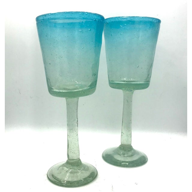 Tall Hand Blown Aqua Ombre Art Glass Goblets - A Pair For Sale In New York - Image 6 of 6