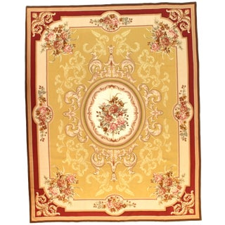 "Pasargad N Y French Aubusson Design Flat Weave Rug - 7′9"" X 9′9″ For Sale"
