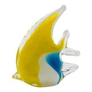 1960s Murano Italian Angle Fish Handblown Glass Figurine For Sale