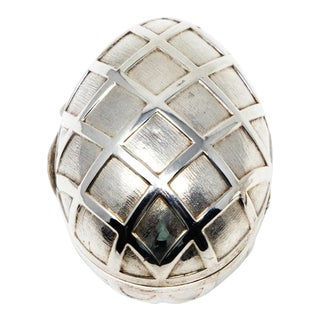 Sterling Silver Decorative Egg Box For Sale