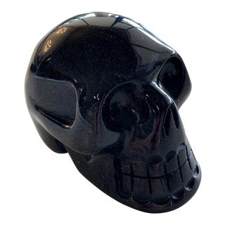Modern Blue Goldstone Carved Skull Figure For Sale