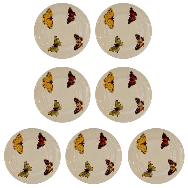 "S/7 Mid Century Modern L. Bernardaud Porcelain ""Butterfly"" Pattern Small Plates - Image 1 of 8"