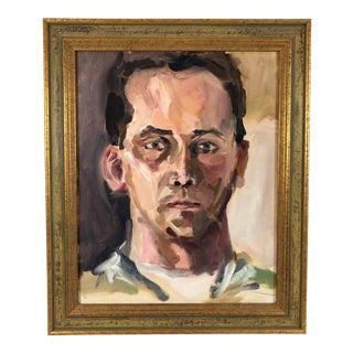 Framed Impressionist Full Face Portrait Man Oil Painting on Board For Sale
