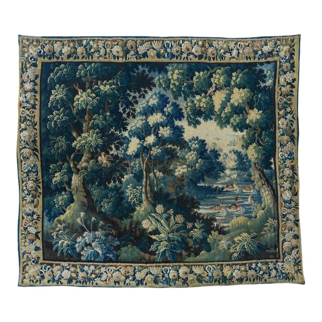 Antique Square 17th Century Flemish Verdure Landscape with Birds Tapestry For Sale