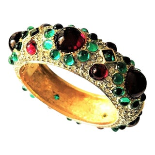 k.j.l. Pave and Cabochon Moghul Hinged Cuff For Sale
