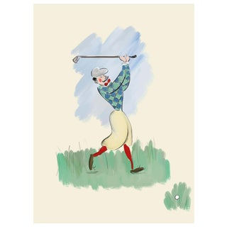 """""""The Golfer"""" Limited Edition Print on Etching Paper by Tug Rice 2018 For Sale"""