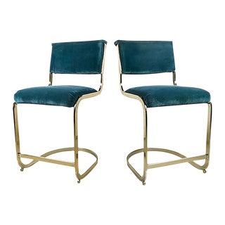 Brass & Velvet Cantilever Stools, Pair For Sale