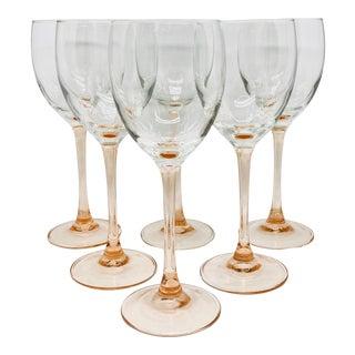 Vintage Blush Stemmed Wine Glass Goblets- S/6 For Sale