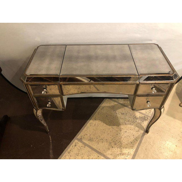 1970s Hollywood Regency Style Mirror Flip Top Vanity Desk or Dressing Table For Sale - Image 5 of 12
