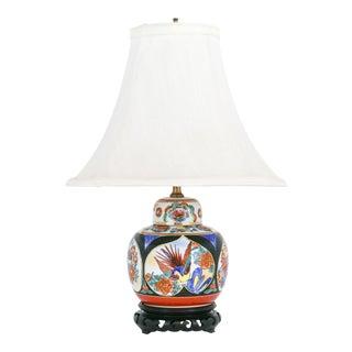 Imari Porcelain Ginger Jar Table Lamp on Pierced Black Wood Base For Sale