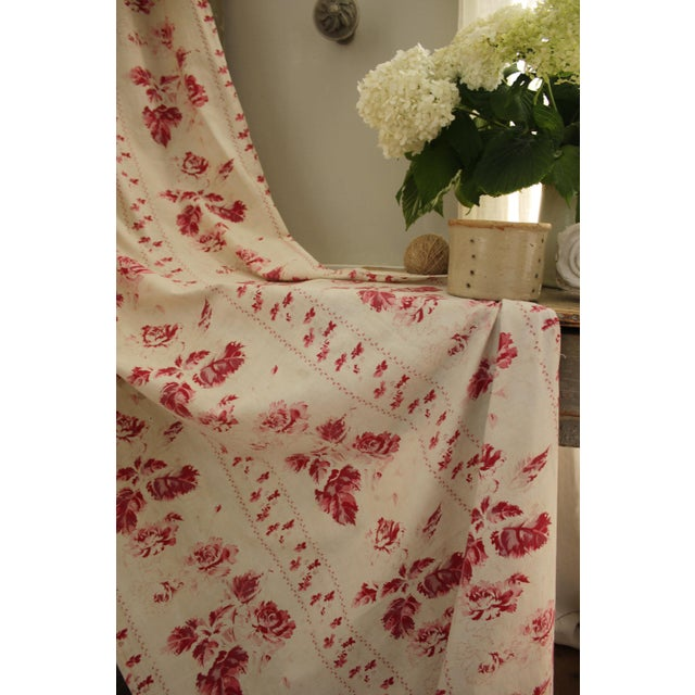Pink Shabby Chic Faded Floral Drape Curtain For Sale - Image 8 of 11