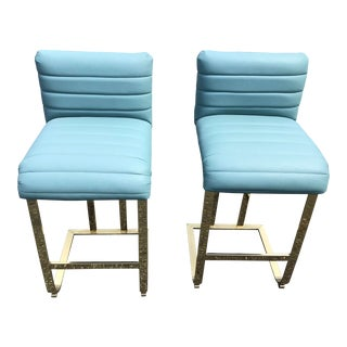 Pair of Brass Cantilevered Barstools For Sale