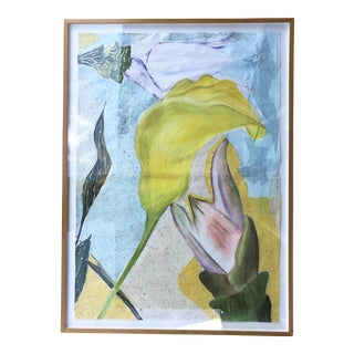 Large Mixed Media Flowers/Signed For Sale