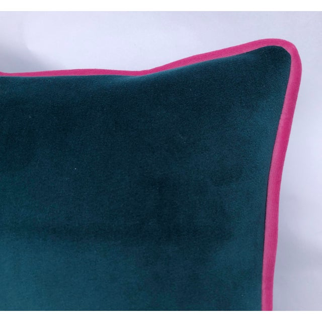 "Modern Variegated Turquoise Blue Toss Pillow, ""Sipping Without Restraint"", Original Design Custom Made For Sale - Image 4 of 6"