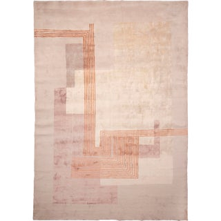20th Century Art Deco Inspired Graphic Geometric Pattern Hand Knotted Rug For Sale