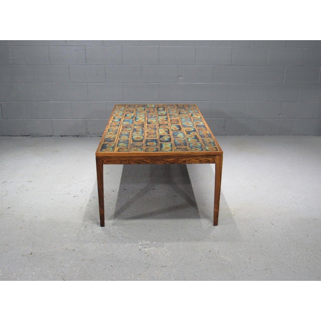Mid-Century Modern 1960s Danish Modern Rosewood and Tile Coffee Table For Sale - Image 3 of 10