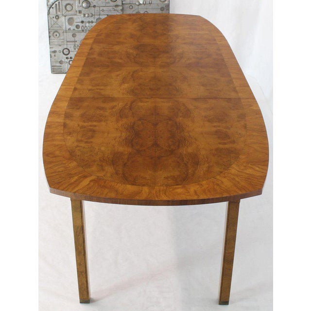 Mid-Century Modern Oval Boat Shape Banded Burl Wood Dining Table With 2 Leaves Extensions For Sale - Image 3 of 12