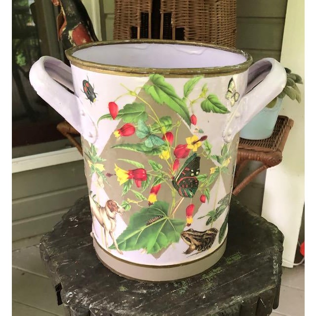 Flora and Fauna Antique French Metal Bucket For Sale - Image 10 of 10
