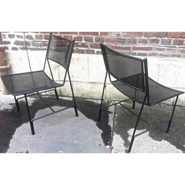 """Mathieu Mategot documented Unique Set of Four Black Metal Chair Models """"Panamera""""."""