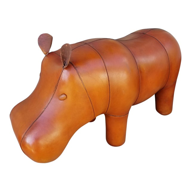Small Leather Animal Hippo Footstool - Image 1 of 5