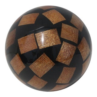 Vintage Decorative Spheres of Random Lacquered Mahogany Chips For Sale