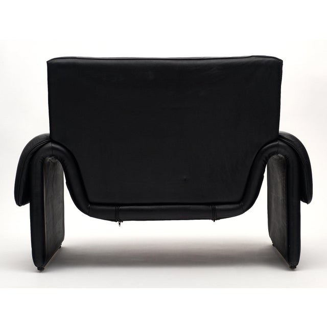 1980s Vintage De Sede Black Leather Armchair For Sale - Image 5 of 11