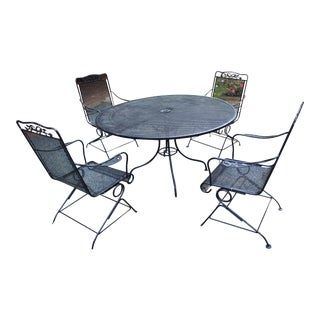 Mid Century Woodard Wrought Iron Garden Set - Table & 4 Chairs For Sale