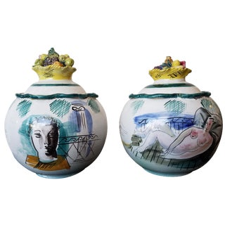 Italian Majolica Bowls With Lids - A Pair For Sale