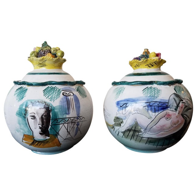 Italian Majolica Bowls With Lids - A Pair - Image 1 of 11