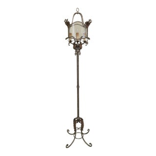 Decorative Iron Base Floor Lamp With Crackle Glass Shade For Sale