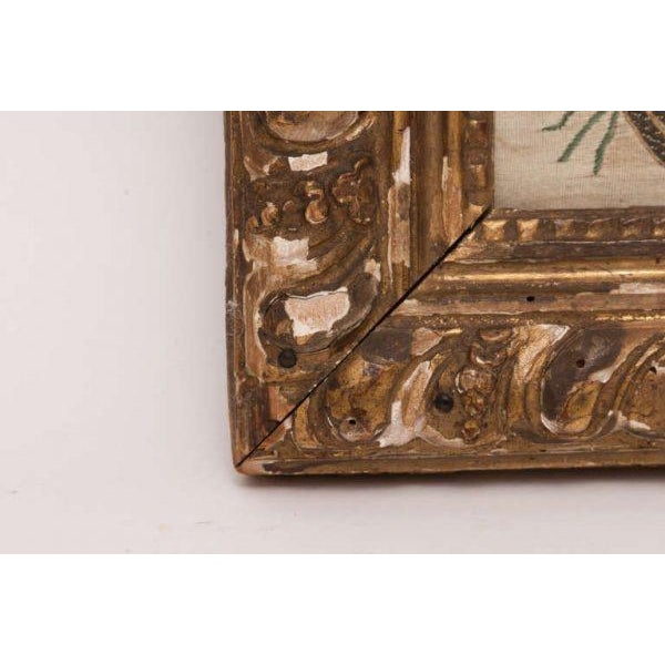 Italian Silk Thread Needlework in Gilt Frame For Sale - Image 5 of 11